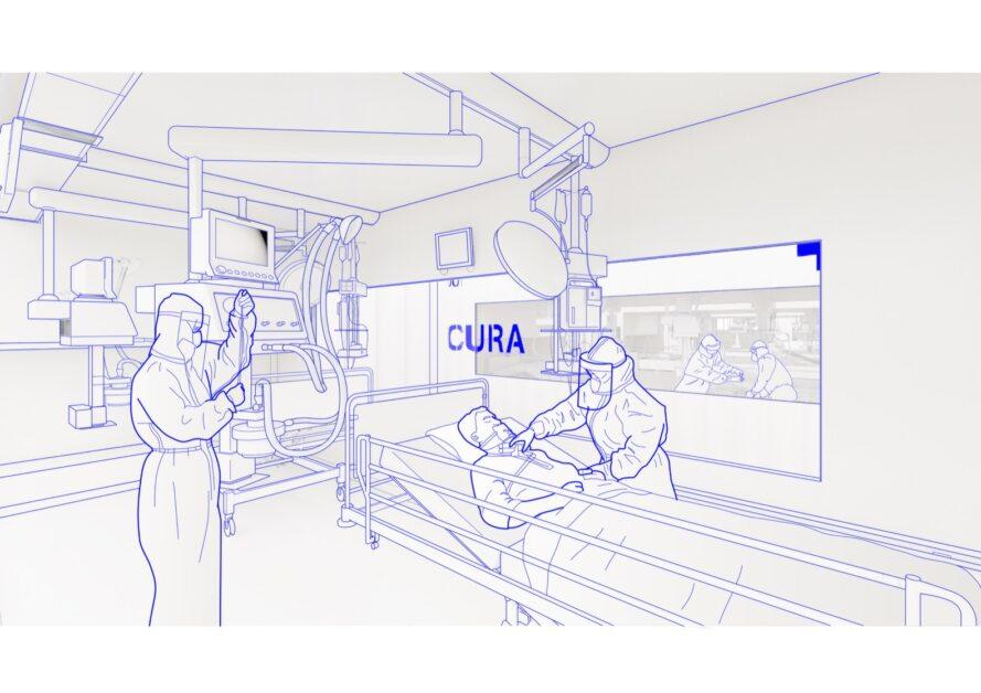 rendering of two doctors in medical protective suits taking care of patient on ventilator