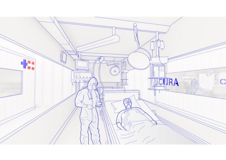 rendering of doctor and patient inside a shipping container