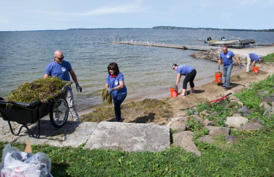 people on lake shoreline cleaning up waste and debris
