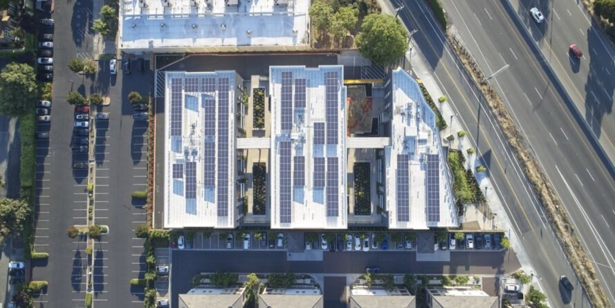 aerial view of solar panels on a roof