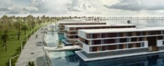 day-time shot of coastal floating hotels on the water