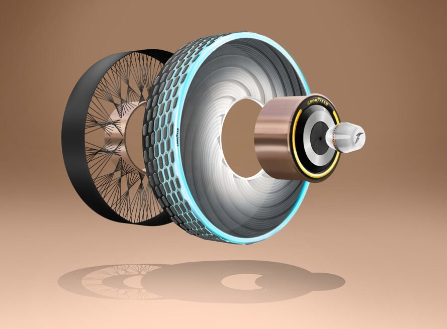 a diagram of the tire's various parts, against a brown background