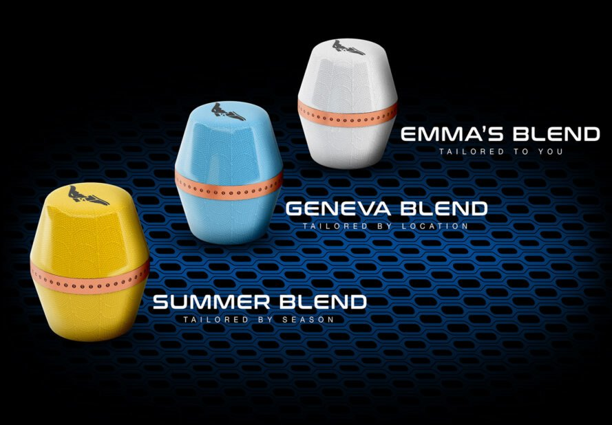 "three pods. the yellow pod is labeled ""Summer Blend,"" the blue pod is labeled ""Geneva Blend,"" and the white pod is labeled ""Emma's Blend"""