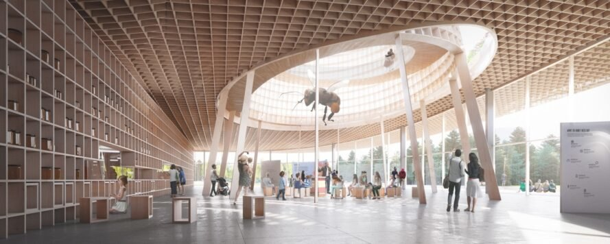 rendering of wood-lined interior building with sculptures of bees