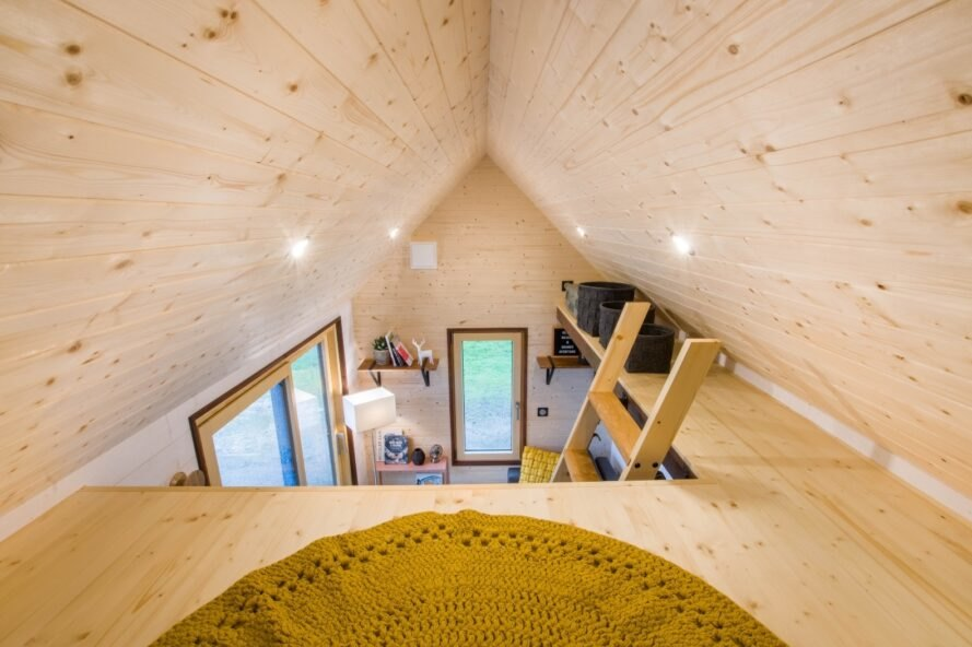 sleeping loft inside vaulted ceiling