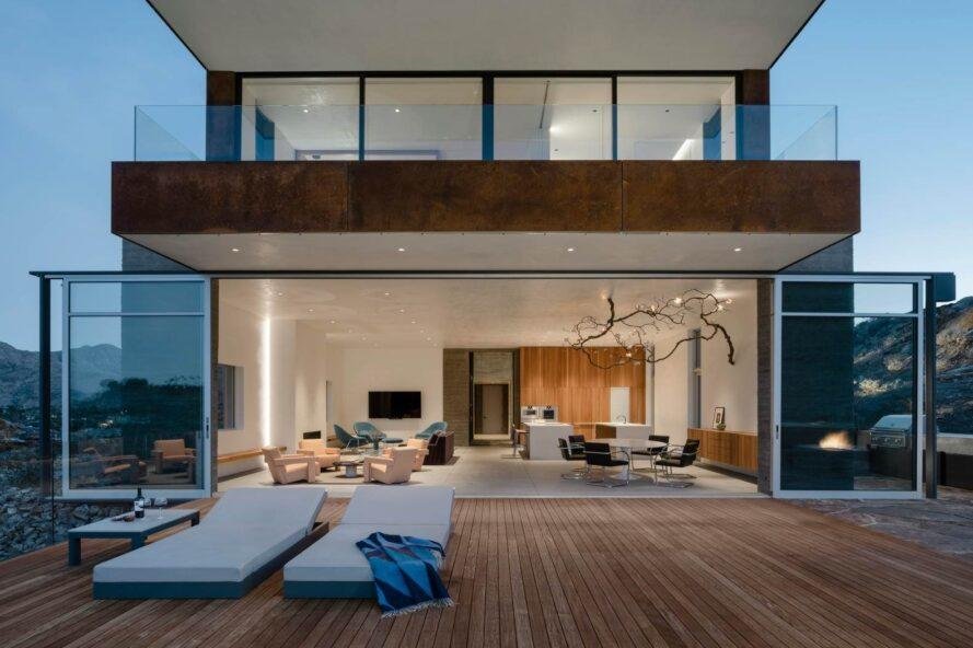 open-air deck leading into large great room
