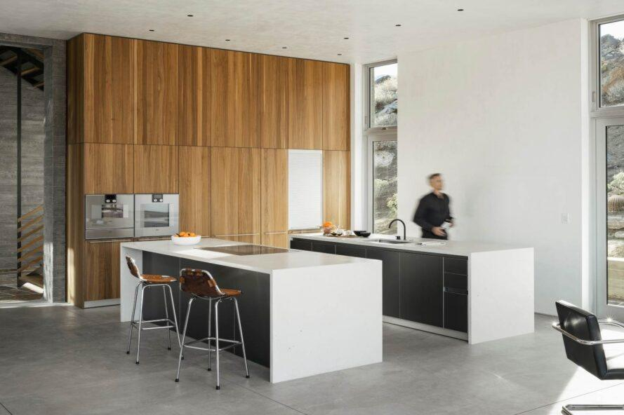 modern kitchen with two islands and seating