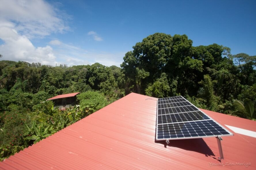 a red roof with solar array