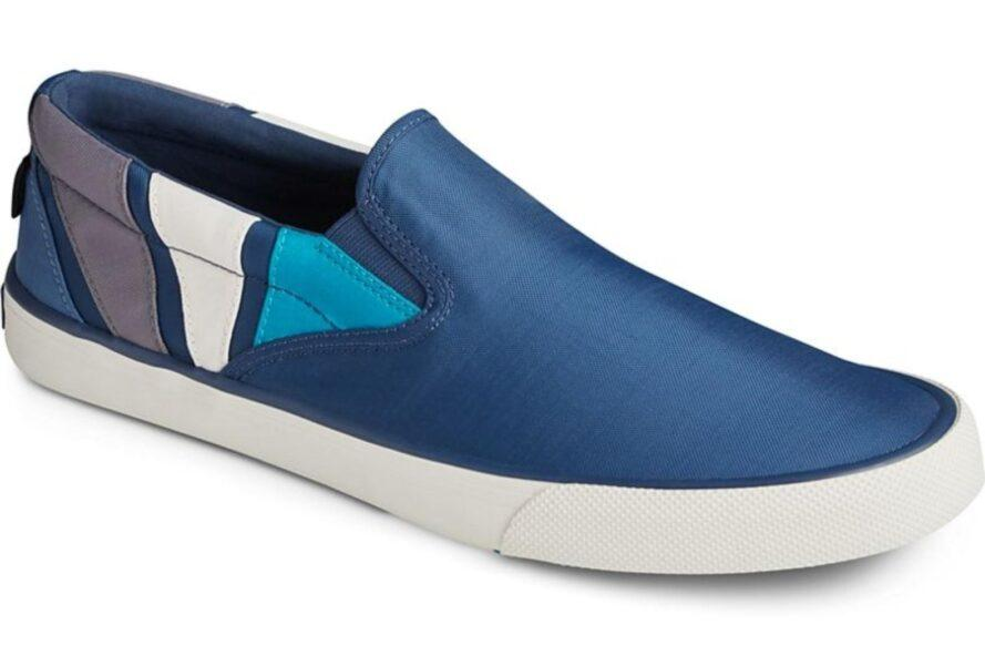men's blue shoe with blue and white detail