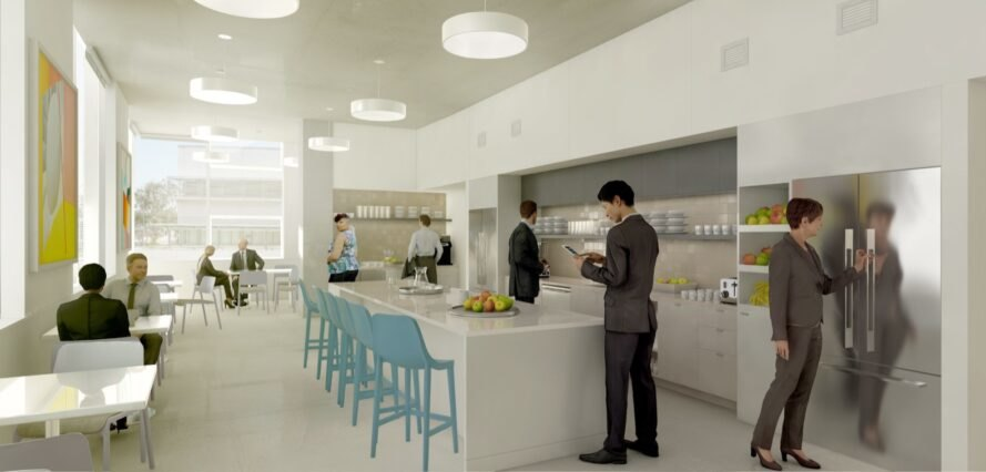 rendering of people in a communal kitchen