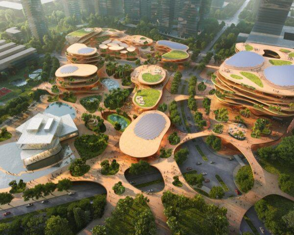 aerial rendering of curved buildings with green roofs and solar panels