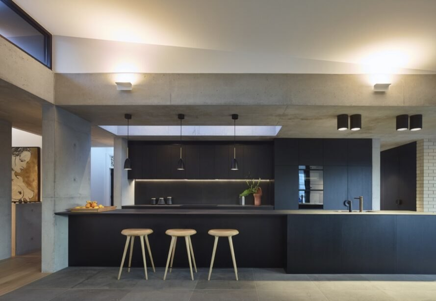 dark gray kitchen with island