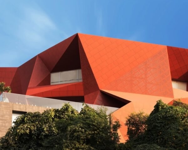 red geometric building