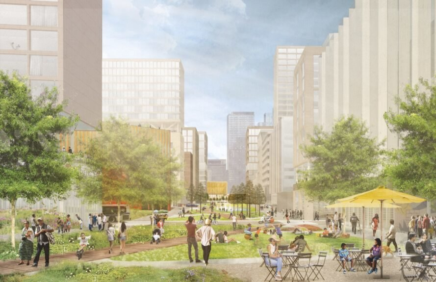 a rendering of a bright grassy area in a city with people walking or lounging.