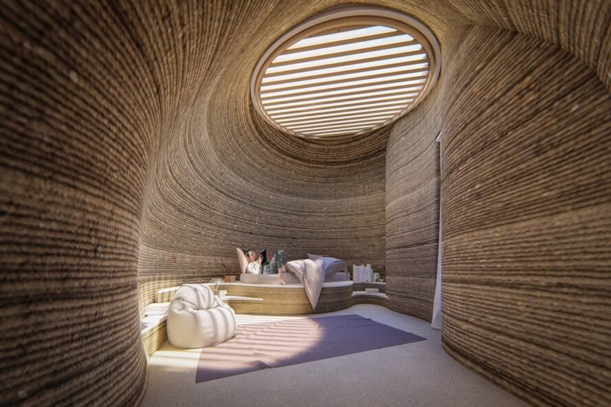 rounded, 3D-printed clay home interior