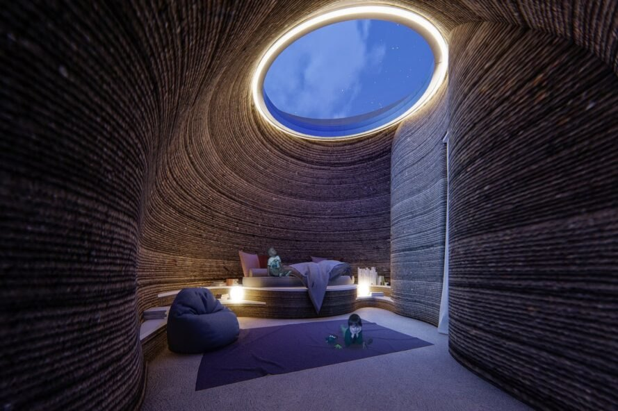 round room with light streaming through skylight