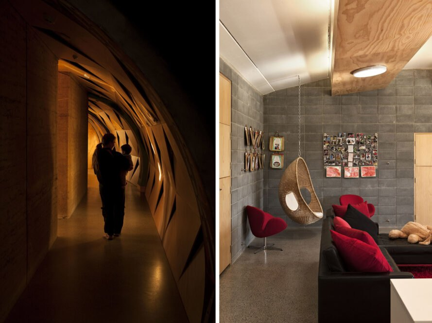 two images: to the left, a person holding a child and walking down a dimly lit hallway. to the right, the interior of a room with red furniture accents and a hanging chair