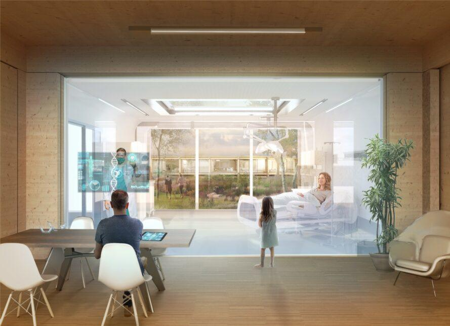 rendering of hospital interior with person at desk and patient in bed