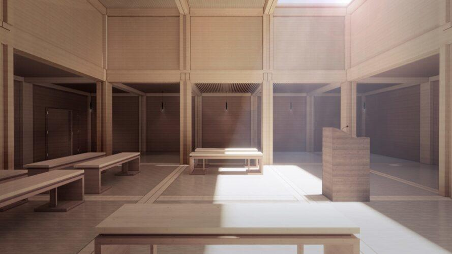 rendering of courtyard with timber benches