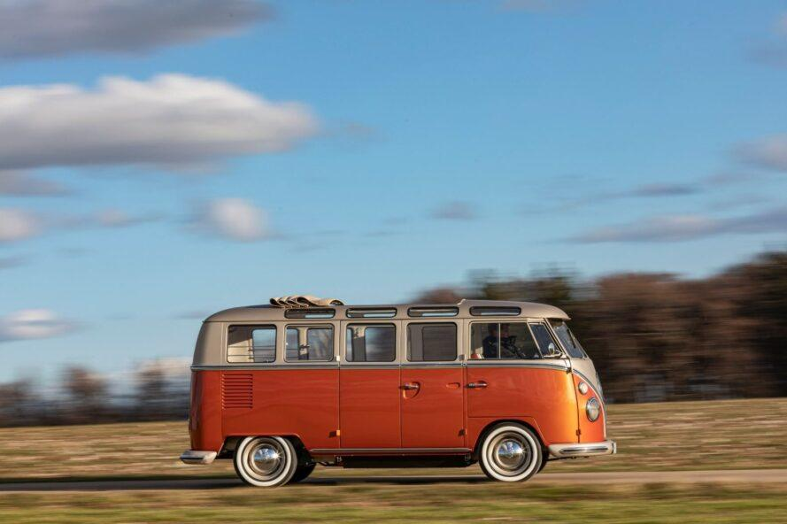 side view of orange and gold VW van