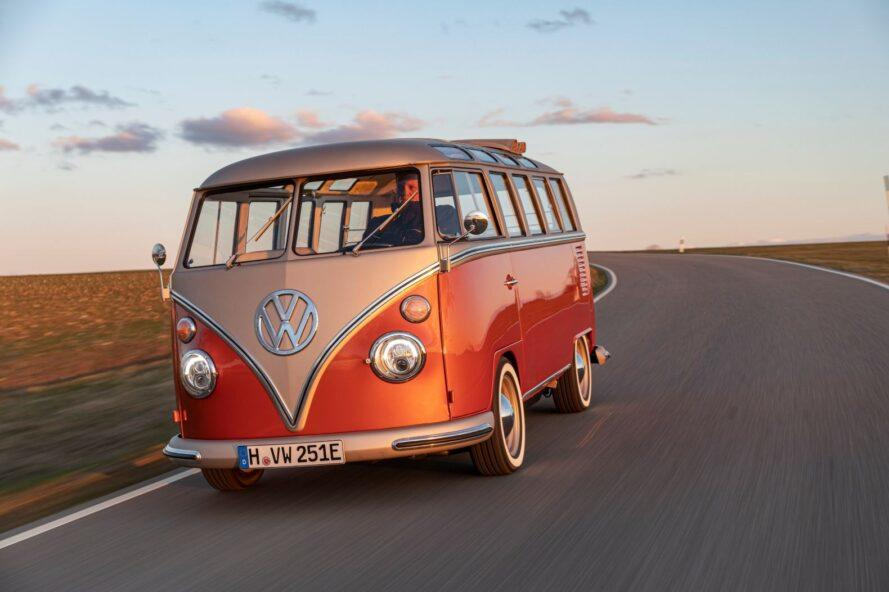 orange VW electric van