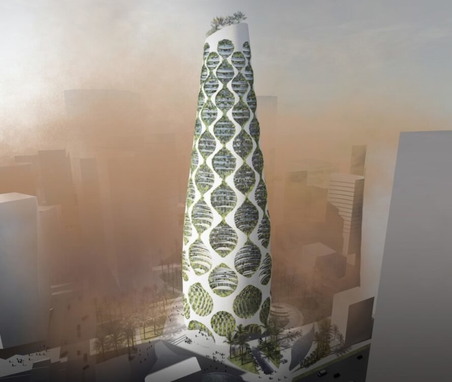rendering of a conical building with circular patches covering the face, showing greenery within. smoggy air surrounds the building