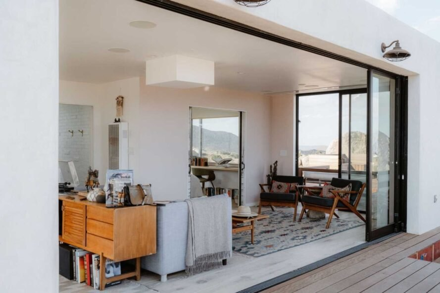 large sliding glass door open to living space