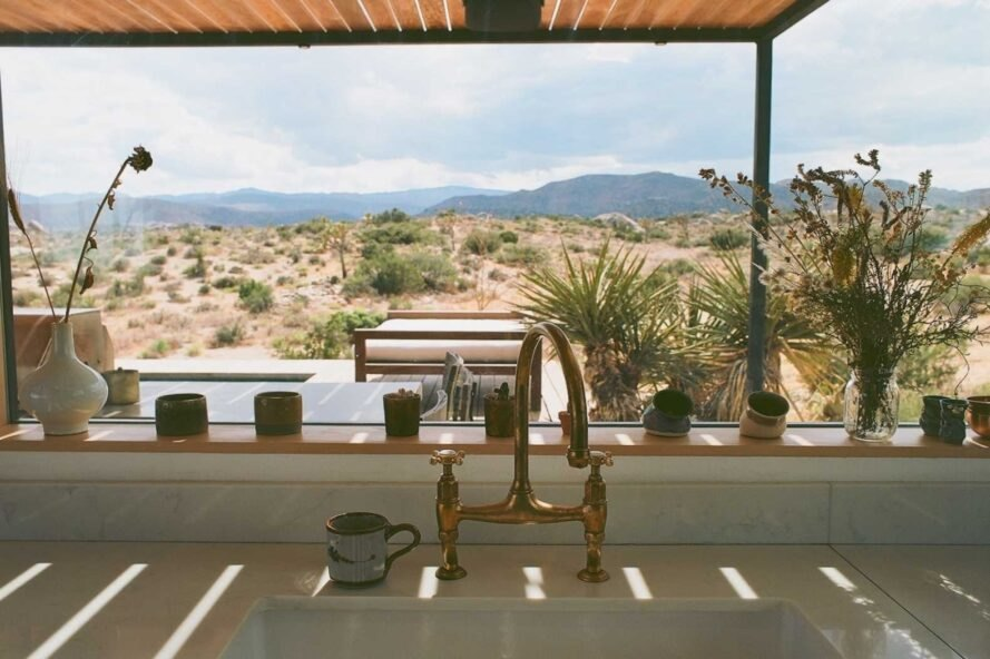 view of outdoor deck from kitchen