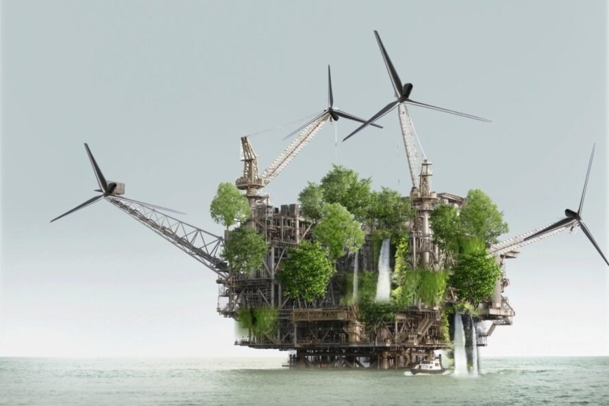 oil rig repurposed into green-covered homes on water