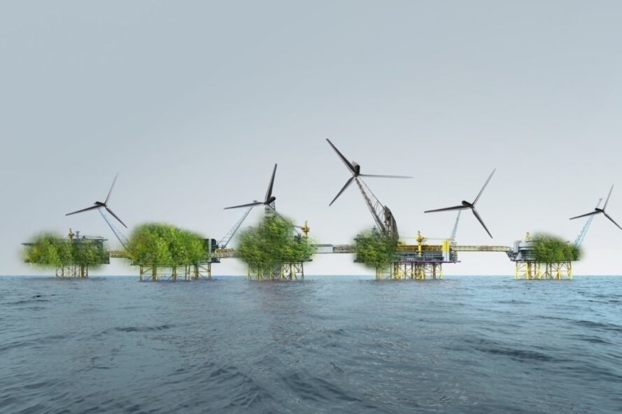 rendering of large oil platforms covered in greenery