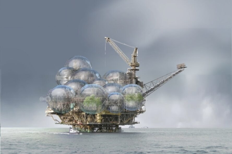 rendering of offshore oil platform covered in bubble-like housing units