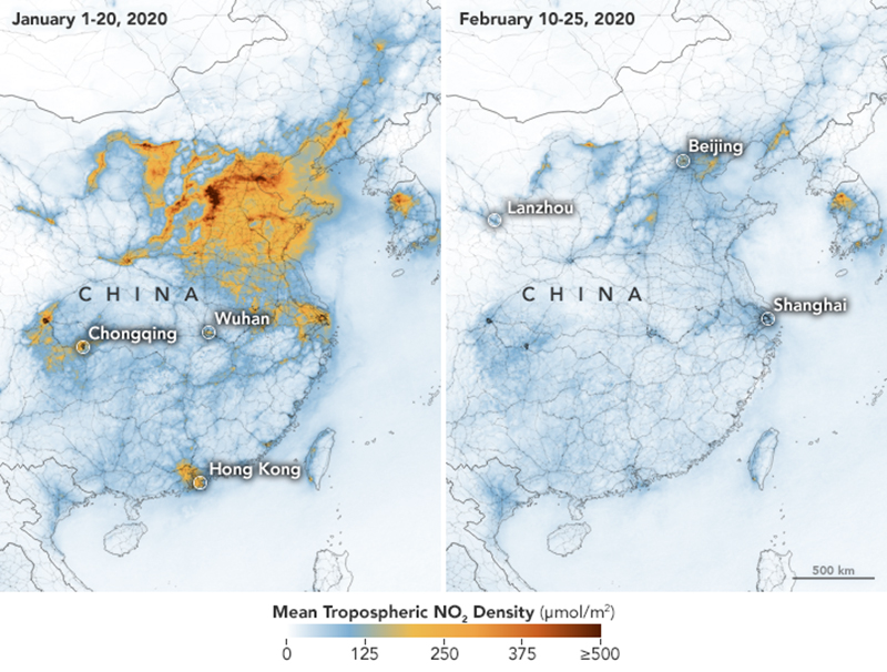 map showing carbon emissions in China before and after coronavirus
