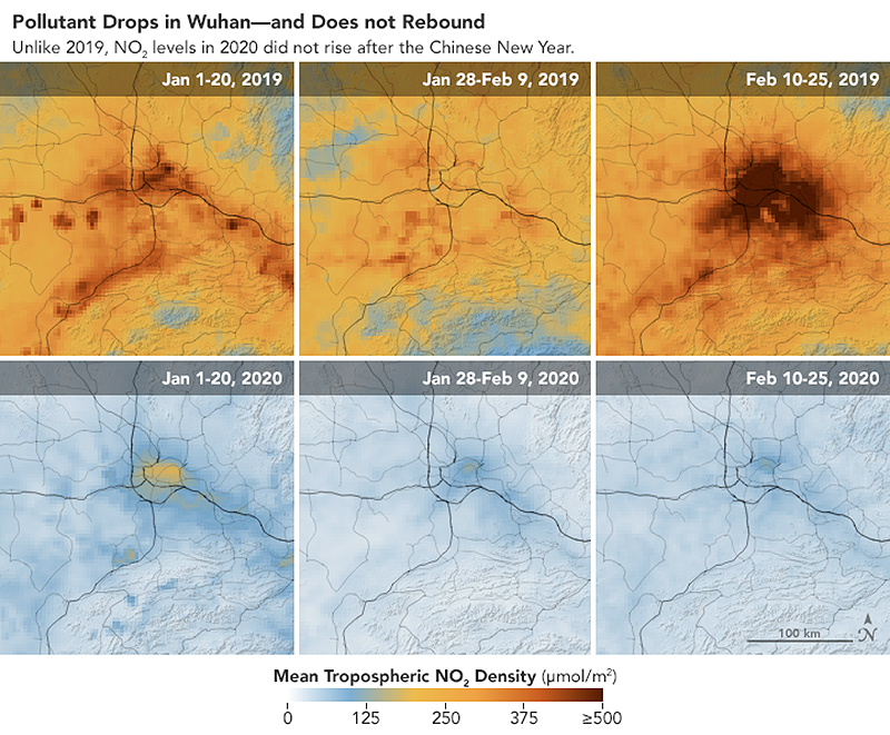 map showing nitrogen dioxide emissions in China before and after coronavirus