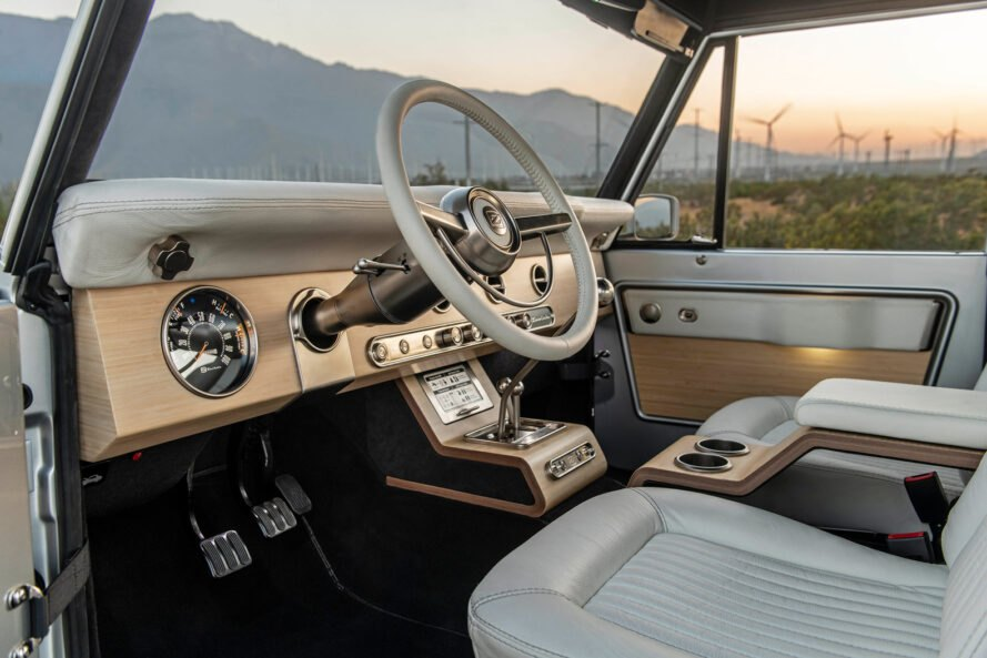 white vegan leather interior of a Ford Bronco