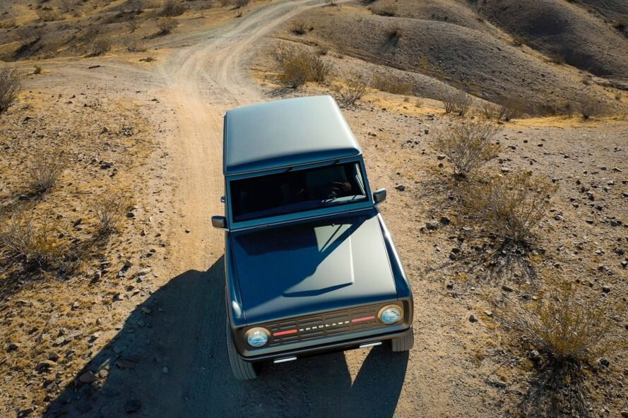 aerial view of silver Ford Bronco