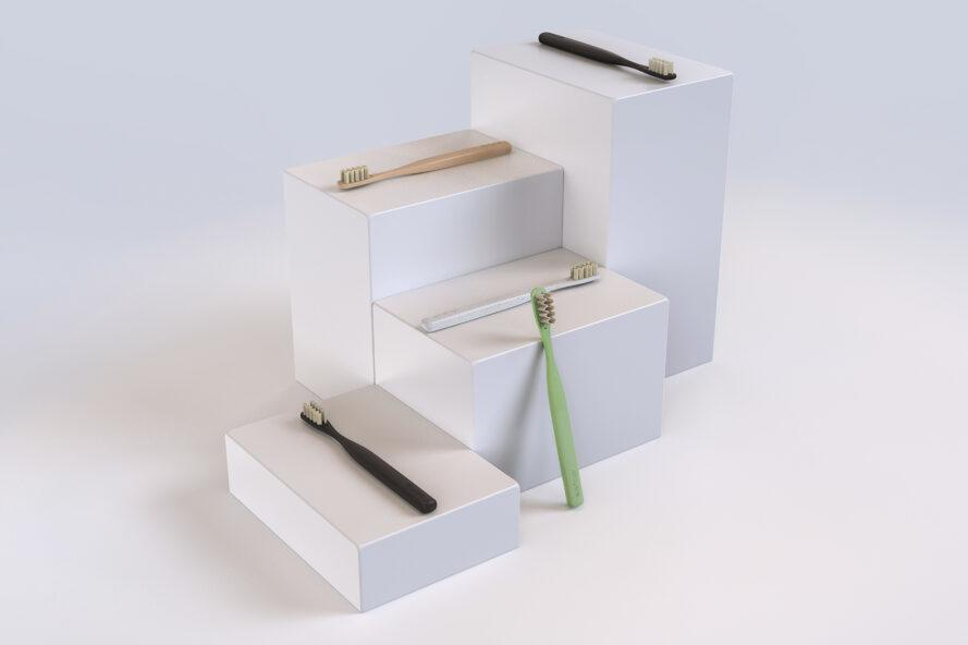 recycled plastic toothbrushes on pedestals