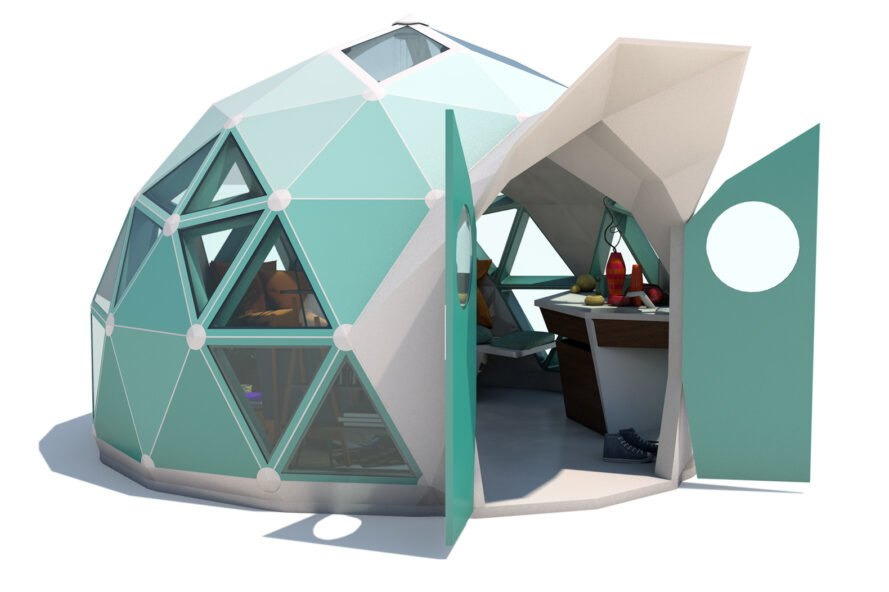 3D diagram of blue geodesic dome with open doors