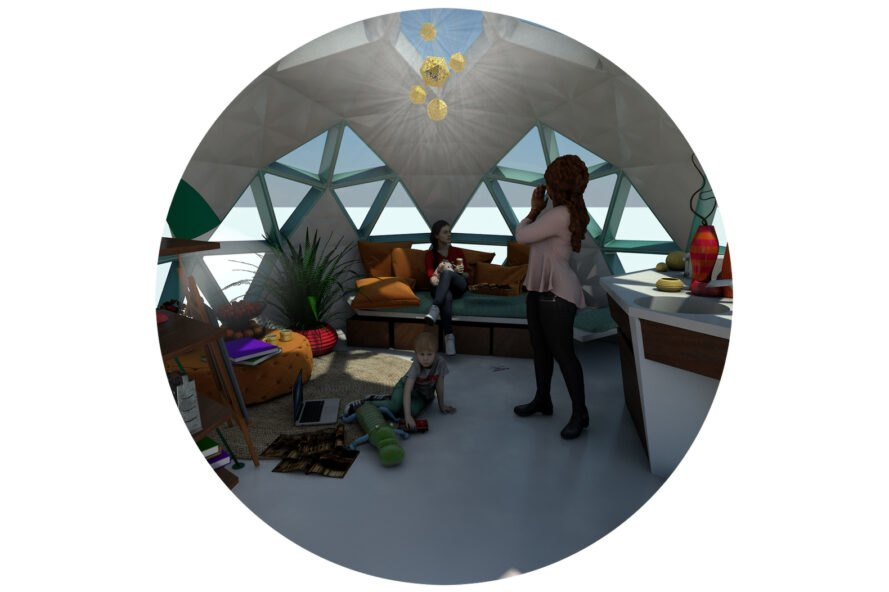 rendering of three people inside a dome home with a small sofa