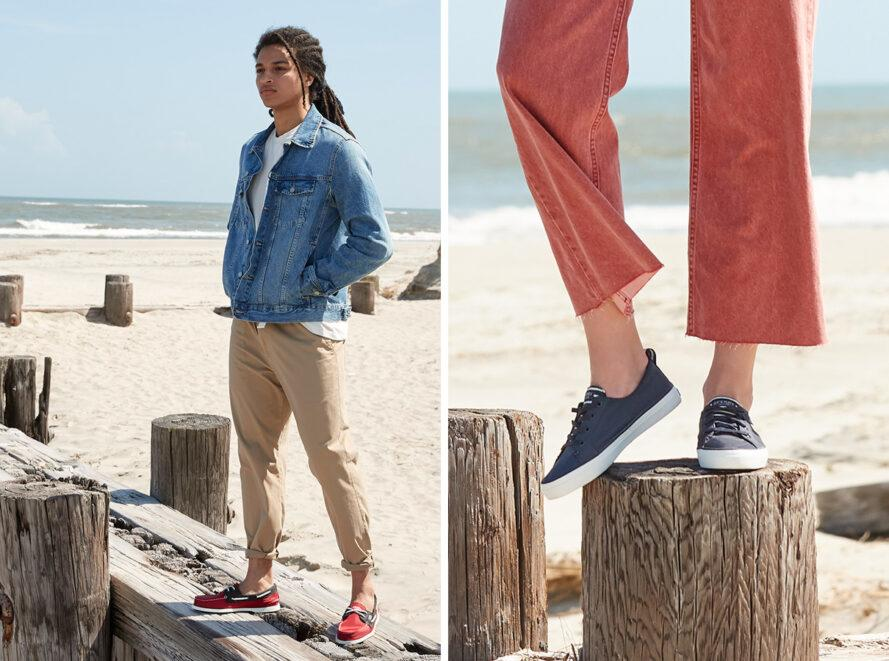 On the left, person wearing red and blue boat shoes on a beach. On the right, person wearing blue boat shoes on the beach.