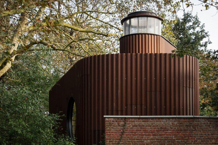 round building clad in corten steel