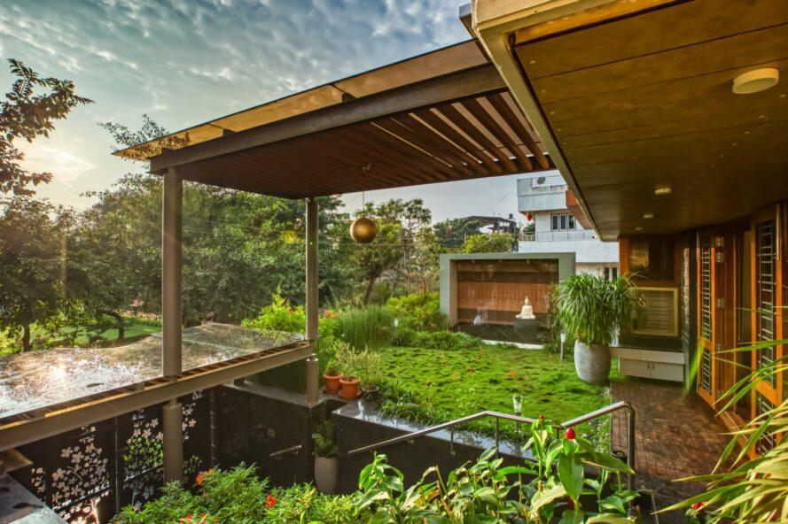 covered patio filled with plants