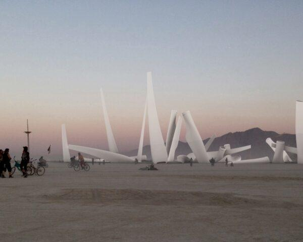 rendering of Burning Man installation made from recycled wind turbine blades