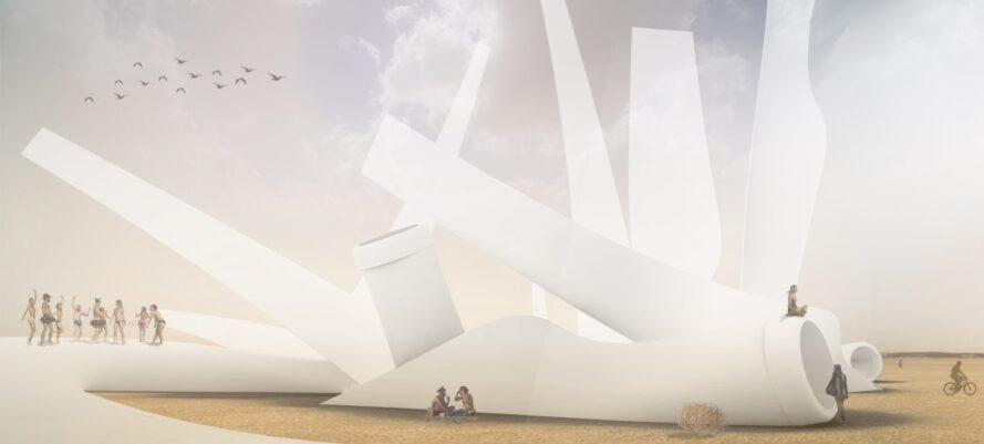 rendering of recycled wind turbine blades sticking out of desert sand