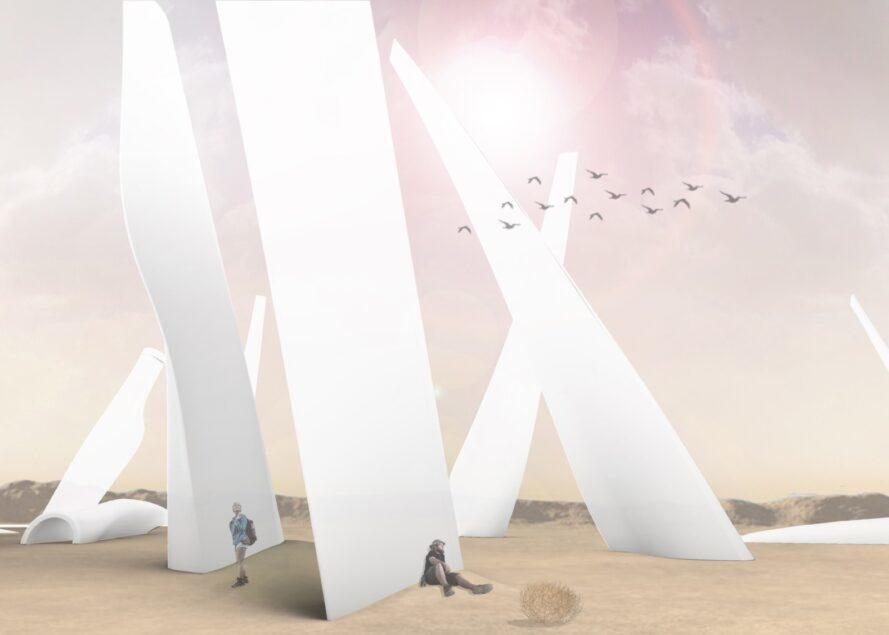 rendering of people resting against massive wind turbine blades
