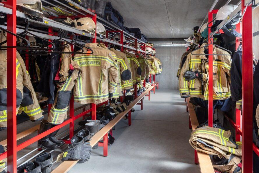 changing area with firemen uniforms