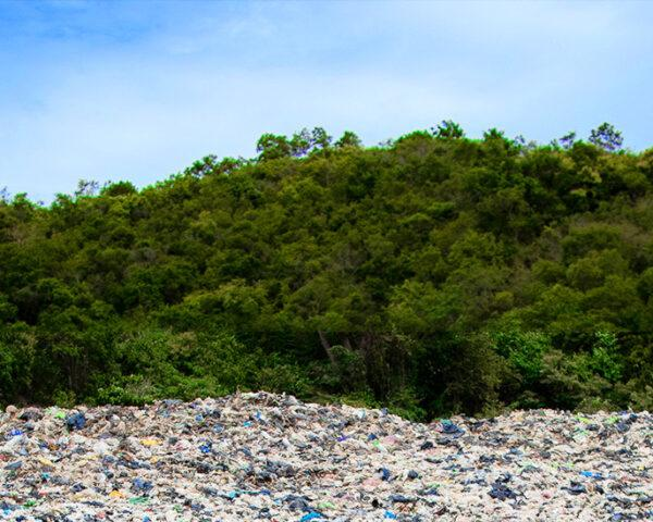 a landfill in front of green trees