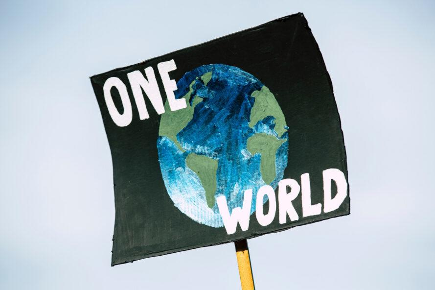 "a protest sign with an earth painting and words saying ""One World"""