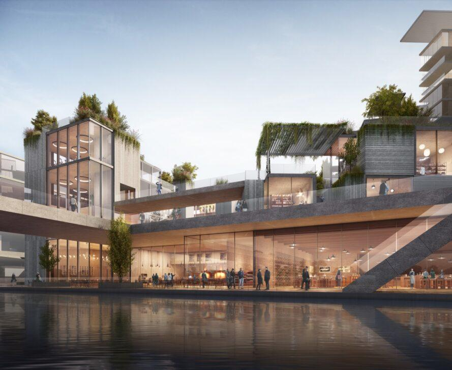 rendering of waterfront mixed-use development with large balconies and multiple green roofs
