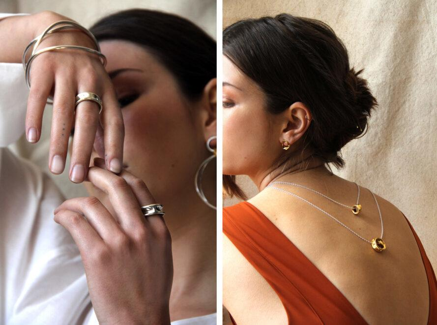 On the left, person showing of metal rings and bracelets. On the right, person wearing low-back shirt with long necklaces draped over the spine.