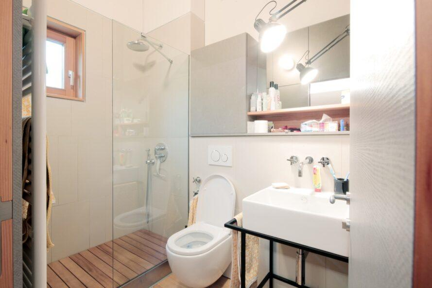 white toilet and sink near stand-up shower with glass wall